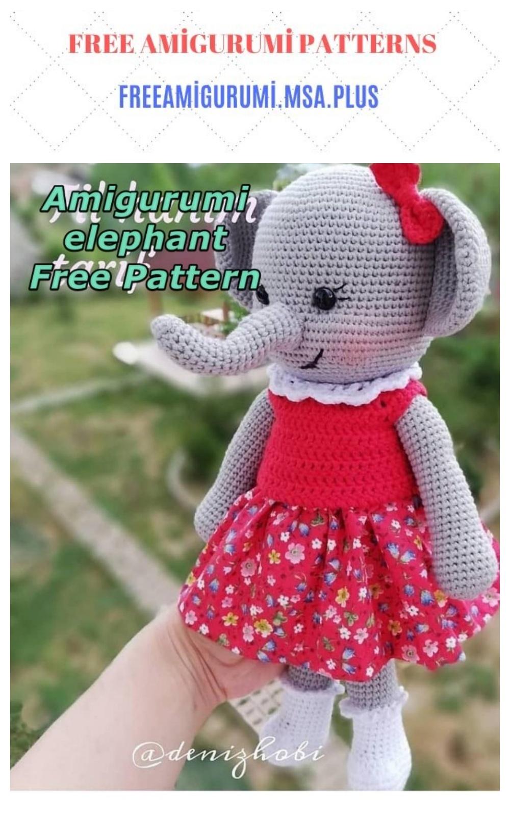 Amigurumi Female Elephant Free Crochet Pattern - Crochet.msa.plus | 1600x1000