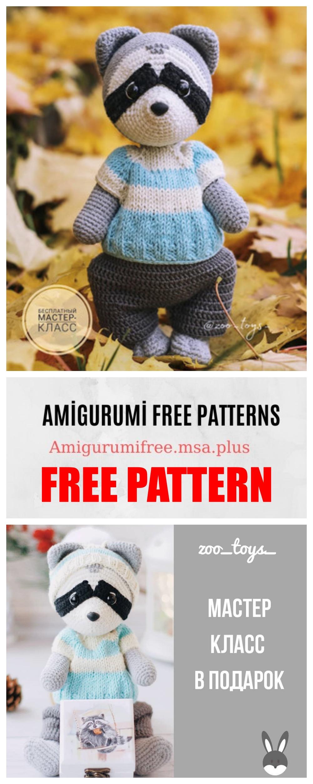 Amigurumi Raccoon Free Crochet Pattern | 2500x1000