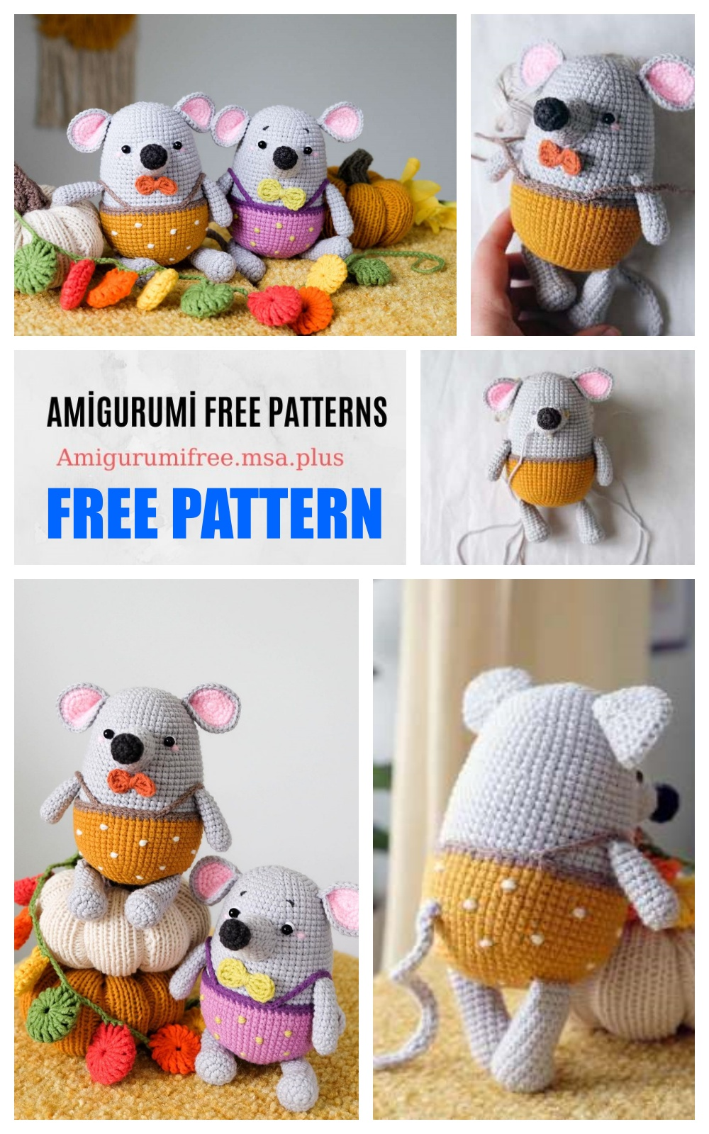 Crochet Tiny Pink Forest Mouse Amigurumi Free Pattern - Amigurumi Crochet  Mouse Toy Softies Free Patterns • DIY How To | 1600x1000