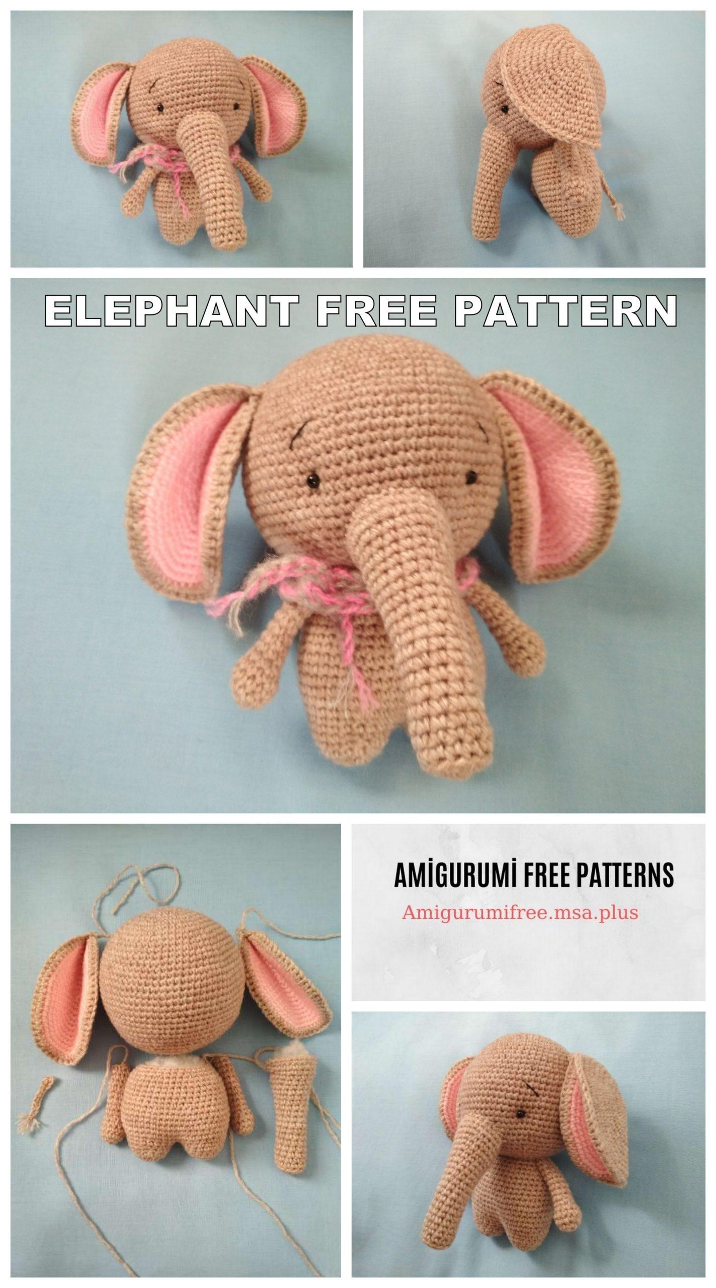 Little elephant amigurumi - crochet pattern | 2560x1423