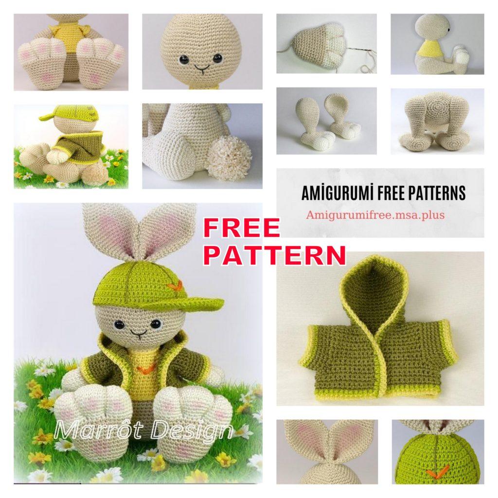Bunny with Amigurumi Hat Free Crochet Pattern