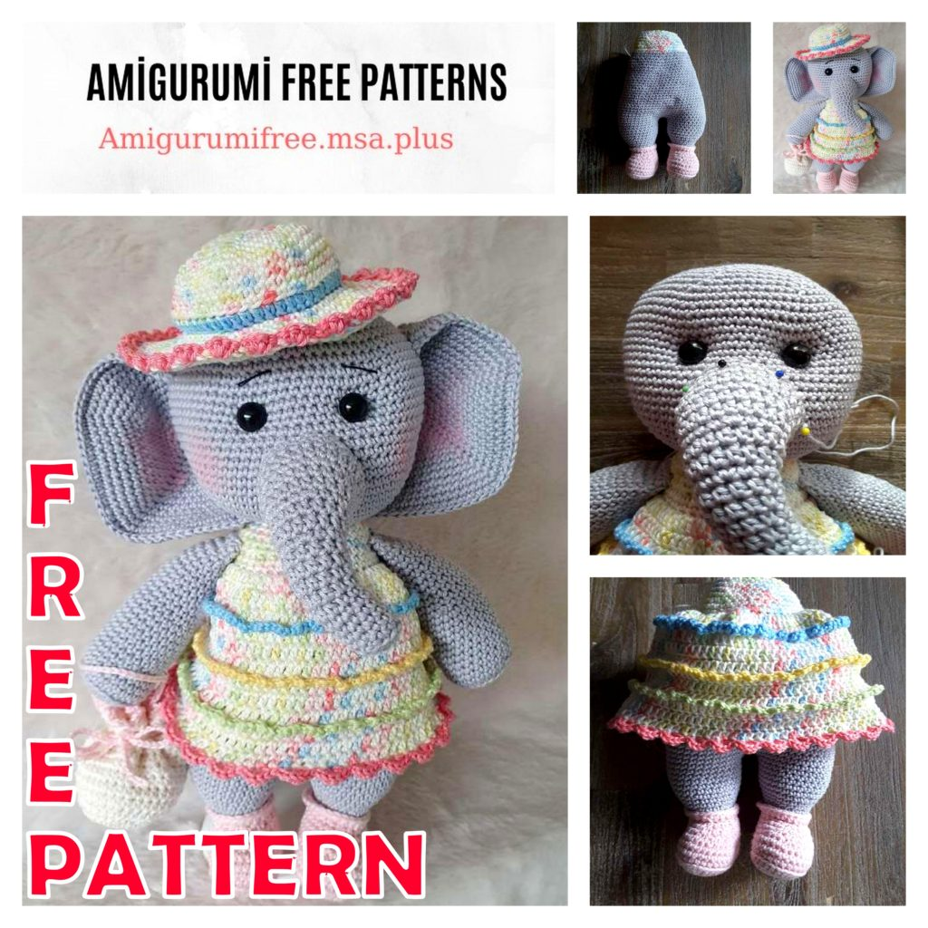 Amigurumi Cute Girl Elephant Free Crochet Pattern