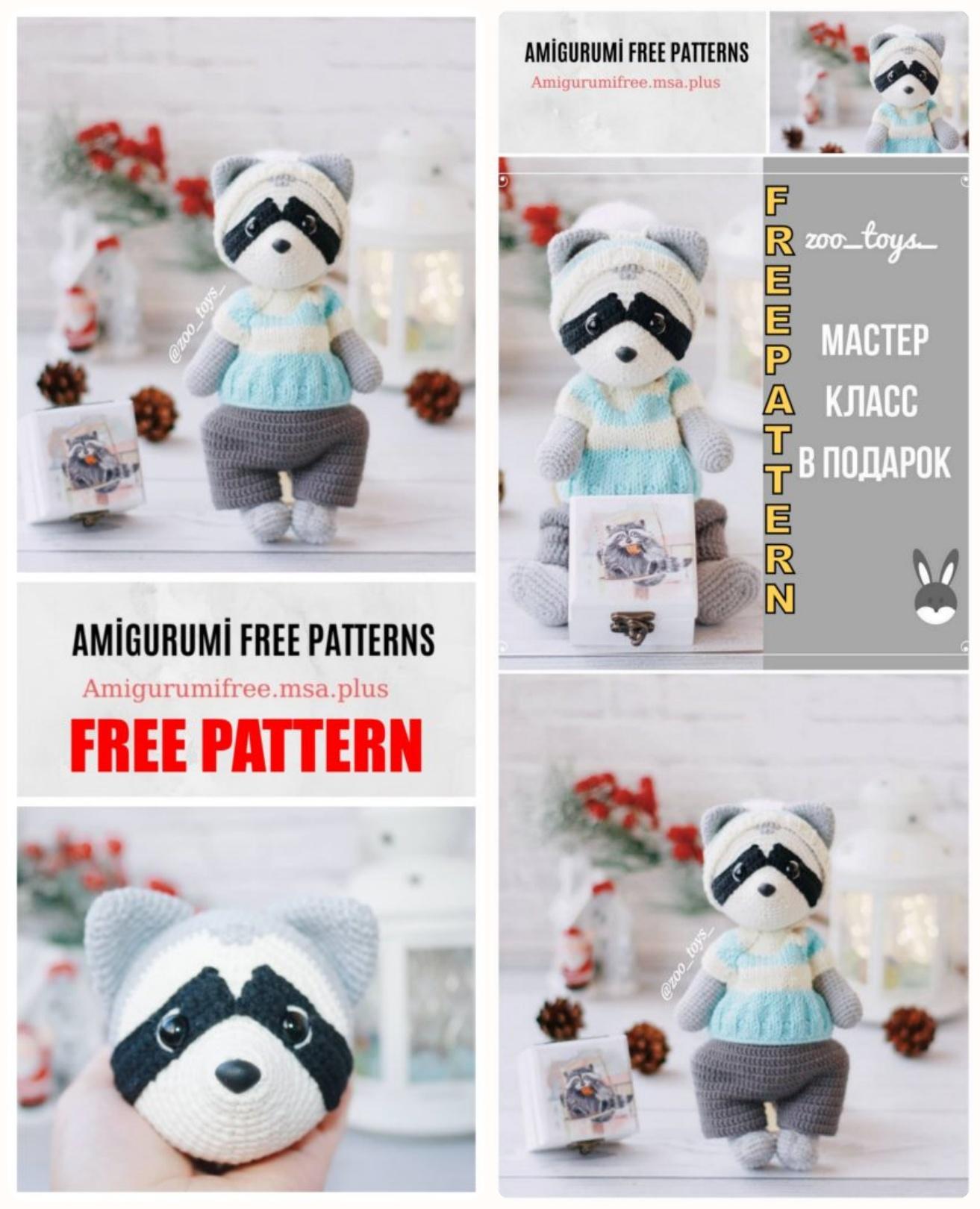 Crochet Raccoon Amigurumi Free Pattern | BeesDIY.com | 1620x1313
