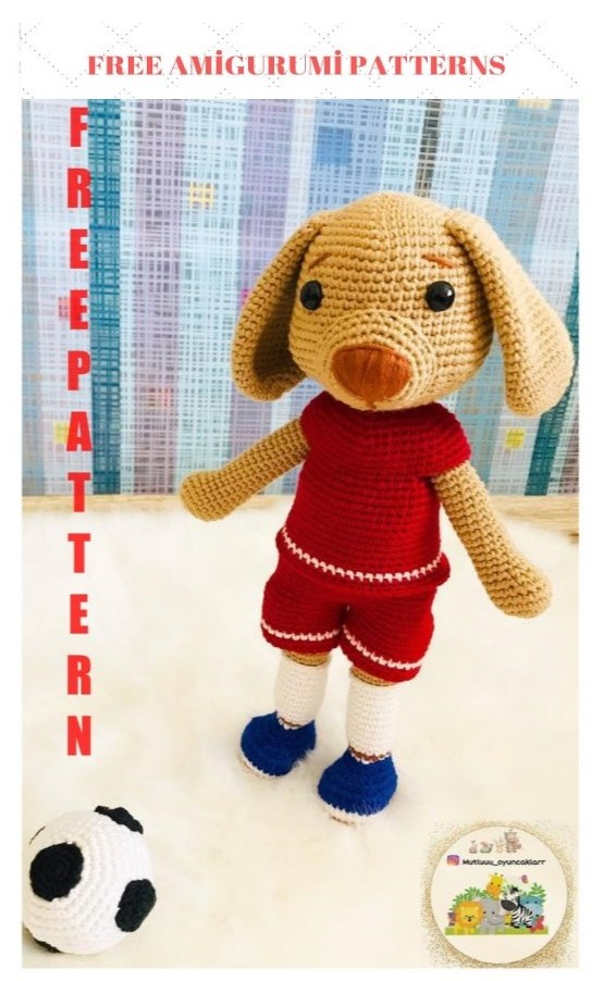 Amigurumi Football Player Dog Free Crochet Pattern
