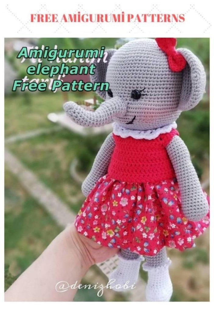 Amigurumi Female Elephant Free Crochet Pattern
