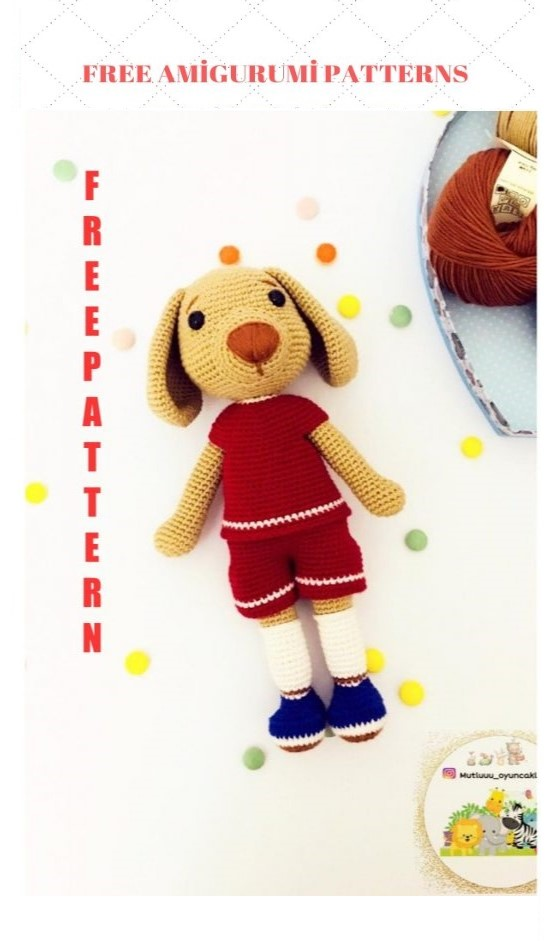 Amigurumi Football Player Dog Free Crochet Pattern